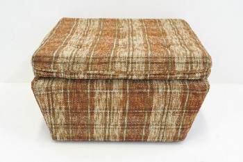 Stool, Ottoman, PLAID,BUTTON TUFTED, ROLLING, FABRIC, BROWN