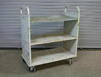 Cart, Library, BOOK CART WITH 3 LEVELS,ROUNDED END HANDLES,DISTRESSED, ROLLING , METAL, GREY