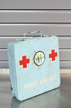 Medical, First Aid Kit, VINTAGE,2 RED CROSSES & LOGO,SCRATCHED , METAL, BLUE