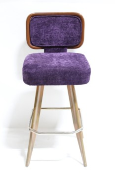 Stool, Backrest, SQUARE SEAT W/WOOD FRAMED BACK, FLARED WOOD LEGS W/METAL FOOT REST, MANUFACTURED 1995, FABRIC, PURPLE