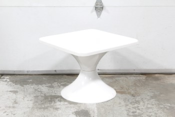 Table, Side, VINTAGE,SQUARE TEXTURED TOP, ROUND TULIP BASE, FIBERGLASS, WHITE