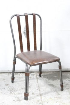 Chair, Side, GREY METAL FRAME, BROWN LEATHER SEAT, 3 STRAP SEAT BACK & WRAPPED LEGS, LEATHER, BROWN
