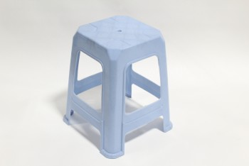 Stool, Square, STACKABLE, PLASTIC, RAISED PATTERN ON SEAT, PLASTIC, BLUE