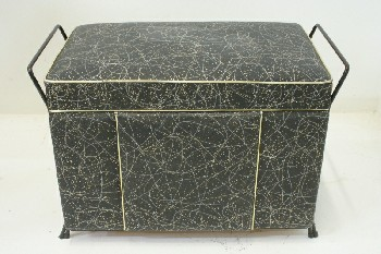 Stool, Ottoman, SMALL BENCH W/2 SIDE HANDLES, VINTAGE/RETRO GOLD & SILVER PATTERN, VINYL, BLACK