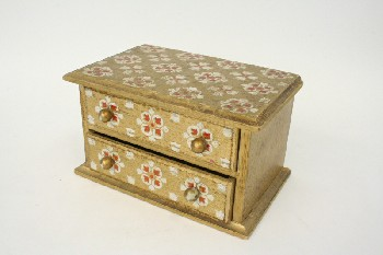 Box, Jewelry, 2 DRAWERS, RED & WHITE PATTERN ON GOLD, WOOD, MULTI-COLORED