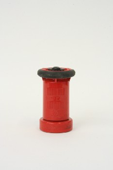 Fire, Nozzle, CYLINDRICAL W/RUBBER TRIM TOP, PLASTIC, RED