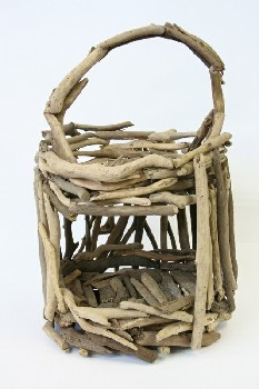 Cage, Wood, RUSTIC BASKET/CAGE MADE OF PIECES OF DRIFTWOOD, HANDLE & 1 SIDE OPENING, WOOD, NATURAL