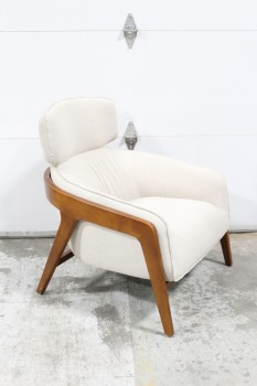 Chair, Armchair, BEIGE UPHOLSTERY W/HEAD REST, CURVED BROWN WOOD FRAME, WOOD, BROWN