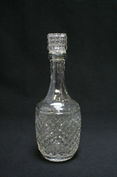 Bar, Decanter, ROUND,DIAMOND CUT,SQUARE CUT STOPPER, GLASS, CLEAR