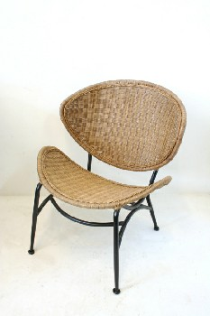 Chair, Side, CURVED SEAT & BACK W/BLACK FRAME , WICKER, BROWN