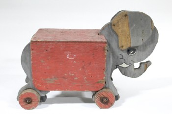 Toy, Animal, HOME MADE VINTAGE TOY OR SMALL STAND,ELEPHANT, DISTRESSED , WOOD, GREY