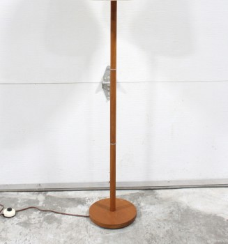 Lighting, Floor Lamp, TEAK,SILVER RINGS ON POLE, ROUND BASE, WOOD, BROWN
