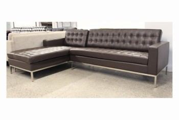 Sofa, Sectional, MODERN,LEFT SECTIONAL, BUTTON TUFTED, POLISHED STAINLESS LEGS -  Photos Show Entire Sectional, LEATHER, BROWN