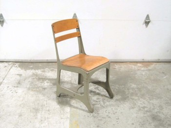 Chair, School, VINTAGE, INDUSTRIAL, WOODEN SEATING AND BACKING, STEEL, GREY