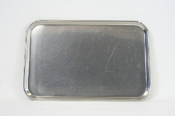 Medical, Supplies, ROUNDED TRAY W/LIP, STAINLESS STEEL, SILVER