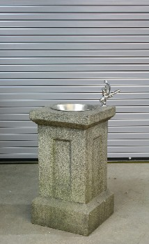 Plumbing, Fountain, PUBLIC DRINKING FOUNTAIN,FAUX CONCRETE PILLAR W/ROUND SINK, DRAIN COVER & SPOUT , WOOD, GREY