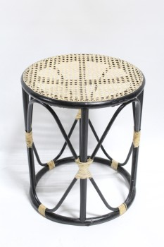 Table, Side, CYLINDRICAL SHAPE W/CANING TOP, WRAPPED CORNERS, WOOD, BLACK