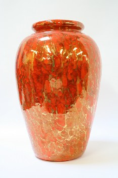 Vase, Floor, METALLIC GOLD SQUIGGLES,TAPERED TO BASE , CERAMIC, ORANGE