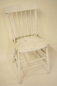 Chair, Dining, KITCHEN,5 SPINDLE BACK, AGED, WOOD, WHITE