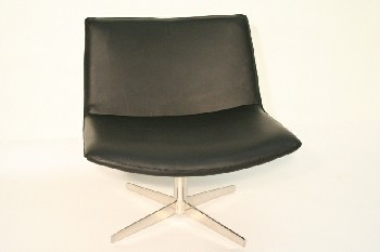 Chair, Client, MODERN,SWIVEL CHROME BASE, LEATHER, BLACK