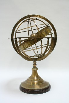 Globe, Tabletop, ARMILLARY SPHERES/GLOBE,RINGS ON WOOD BASE, BORDER OF ASTROLOGICAL SIGNS, METAL, BRASS