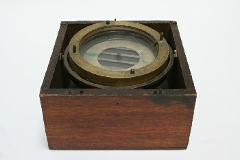 Science/Nature, Compass, SHIP'S COMPASS W/WATER IN WOODEN BOX, METAL, BRASS