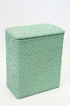 Laundry, Hamper, HOUSEHOLD CLOTHES HAMPER W/HINGED LID,VINTAGE, WICKER, GREEN
