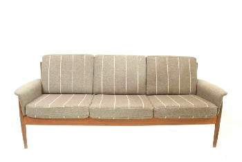 Sofa, Three Seat, TEAK,MID CENTURY MODERN,TWEED ARM RESTS & 6 REMOVABLE STRIPED CUSHIONS, WOOD, BROWN