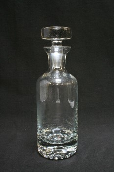 Bar, Decanter, PLAIN CYLINDRICAL W/FLARED TOP,CYLINDRICAL STOPPER, GLASS, CLEAR