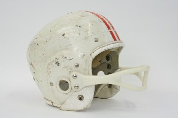 Headwear, Helmet, FOOTBALL HELMET W/2 RED STRIPES & PLASTIC FACE GUARD, PLASTIC, WHITE