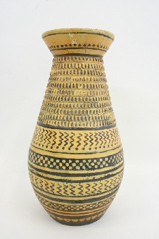 Vase, Floor, BULBOUS MIDDLE W/BORDERS OF BROWN LINES & ZIGZAGS,FLAT TOP, TERRA COTTA, YELLOW