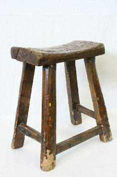 Stool, Rustic , CURVED LOG TOP,FLARED LEGS,TRESTLE ON 1 SIDE,RUSTIC, AGED, WOOD, BROWN