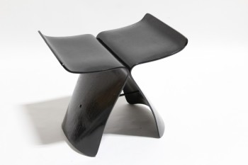 Stool, Misc, MODERN,TWIN CURVED CONNECTED BENTWOOD SHELLS, WHALE TAIL OR BUTTERFLY SHAPE, PAINTED BLACK , WOOD, BLACK