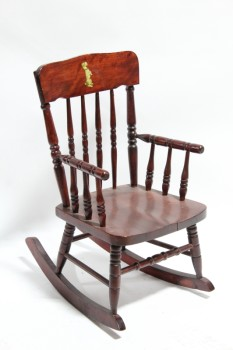 Chair, Child's, SMALL VINTAGE ROCKER W/ARMS, TURNED SPINDLES, KID SIZE, DOG ON SEAT BACK, WOOD, BROWN