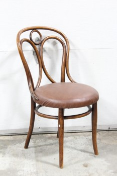 Chair, Dining, ANTIQUE BENTWOOD, THONET STYLE, NO ARMS, BROWN SEAT PADDING, WOOD, BROWN