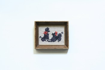 Wall Dec, Stitched, CLEARABLE,NEEDLEPOINT,2 POODLES,WOOD FRAME, EMBROIDERY, MULTI-COLORED
