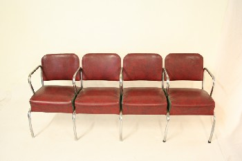 Bench, Seats, 4,CHROME TUBE ARM RESTS/LEGS, VINYL, RED