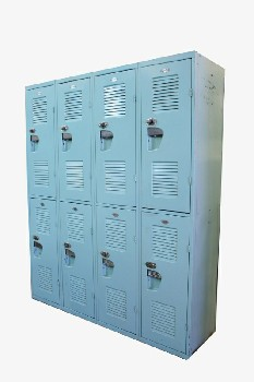 Locker, Misc, VINTAGE,2x4 W/COMBINATION LOCKS RIGGED TO OPEN, SILVER HANDLES **This Item Is Not Allowed To Be Painted**, METAL, BLUE