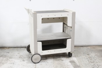 Cart, Misc, UTILITY CART, 3 LEVELS (1 ADDED SHELF, NOT ORIGINAL), 1 HANDLE, ROLLING W/2 LARGE & 2 SMALL WHEELS, AGED, PLASTIC, GREY