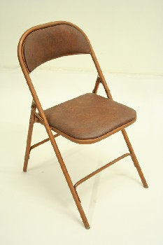 Chair, Folding, BROWN VINYL SEAT/BACK,AGED (NOT EXACTLY AS SHOWN), METAL, BROWN