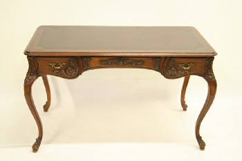 Desk, Wood, MAHOGANY,3 DRAWERS,QUEEN ANNE LEG, WOOD, BROWN