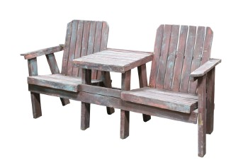 Bench, Seats, ADIRONDACK STYLE,OUTDOOR,TWO SEATS W/CENTRE TABLE, SLAT CONSTRUCTION, DISTRESSED , WOOD, BROWN