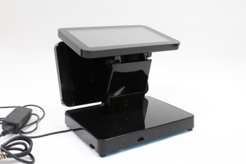 Store, Point Of Sale, COUNTERTOP TOUCHSCREEN TABLET STATION FOR RETAIL, RESTAURANT, ETC., PART OF 4 PC. SET (HANDHELD SCANNER, CASH BOX & PRINTER RENT SEPARATELY) W/CORD , PLASTIC, BLACK
