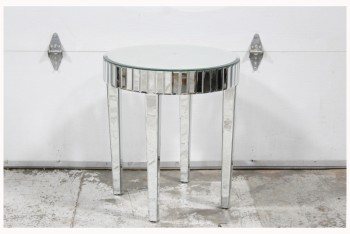 Table, Side, MIRRORED, BEVELED GLASS, ROUND TOP, TAPERED LEGS, GLASS, SILVER