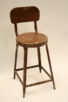 Stool, Backrest, ROUND SEAT W/BACK, METAL, BROWN