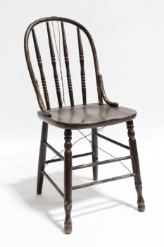 Chair, Dining, KITCHEN,TURNED 4 SPINDLE BACK & LEGS, AGED , WOOD, BROWN