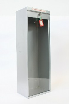Fire, Box, FIRE EXTINGUISHER BOX W/PLEXI FRONT,2 KEYS, WALLMOUNT, METAL, SILVER