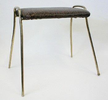 Stool, Ottoman, BRASS LEGS, VINTAGE BLACK & BROWN CRACKLE PATTERN, VINYL, BLACK
