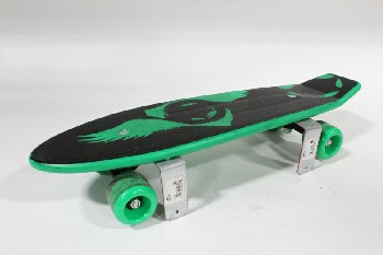 Shelf, Wallmount, KIDS WALLMOUNT SHELF MADE OF A BLACK & GREEN SKATEBOARD W/2 BRACKETS, PLASTIC, GREEN