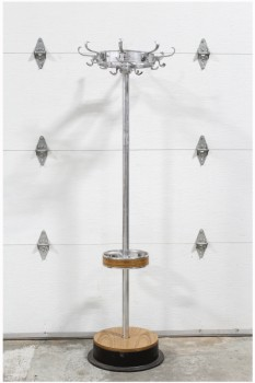 Coat Rack, Misc, ROUND METAL RING TOP W/HOOKS, METAL POST W/UMBRELLA STAND, LAMINATE WOOD & BLACK ROUND BASE, METAL, SILVER